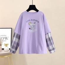 QWEEK Koreanische Stil Frau T-shirts Mode 2020 Lila Druck T Shirt Frauen Lange Hülse Oversize Lose Beiläufige Frauen Kleidung