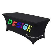 Nappe de Table rectangulaire personnalisée, couverture de Table en Spandex, extensible, pour fête, mariage, événements, livraison gratuite