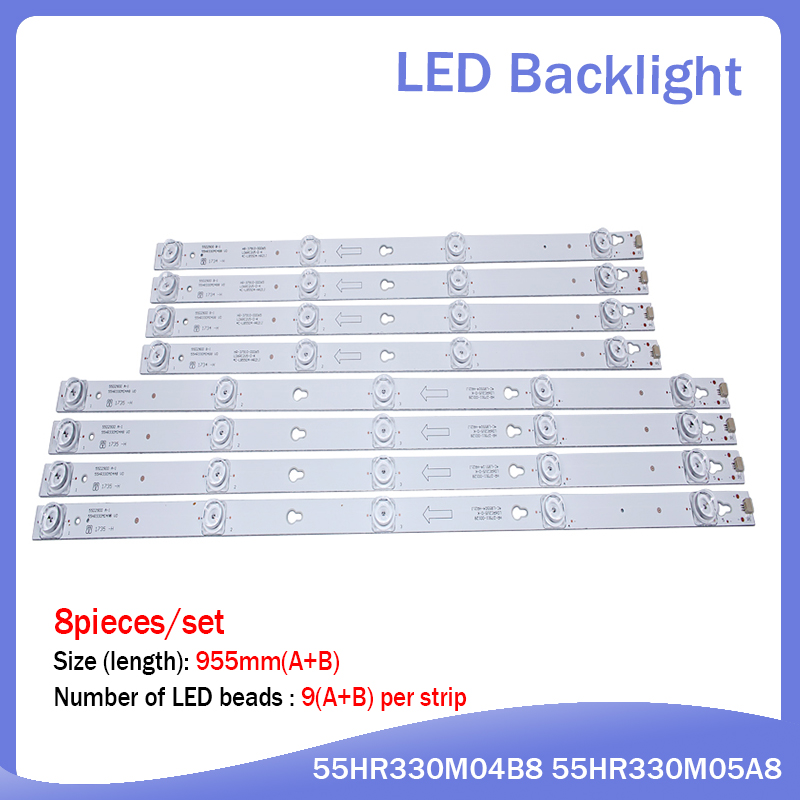8pcs LED Backlight Strip For L55P2-UDN TOT-55D2900-4x4+4x5-3030C B55A658U 55U6700C 55D2900 55HR330M04B6 55HR330M04A6 D55A810