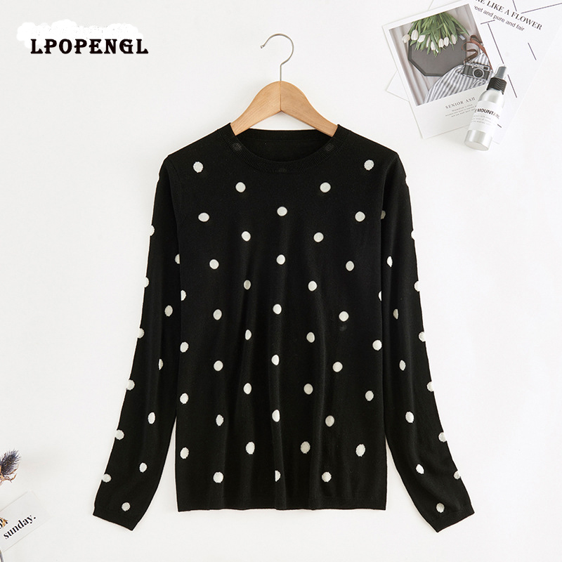 2019 Autumn And Winter Women's Polka Dot Sweater Women's 100% Pure Wool Sweater Round Neck Pullover Sweater Women Runway Sweater