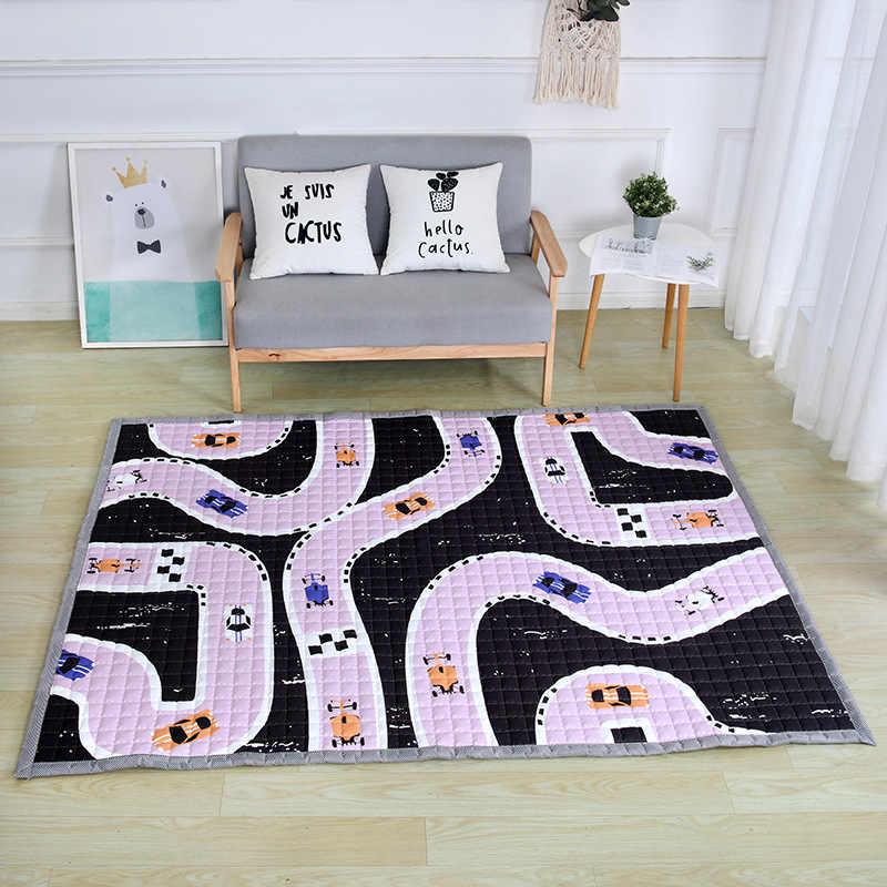 Avrupa halı 150*200cm kat mat kuğu Antiskip oturma odası mat tavşan ev halı Patchwork mat çocuk kız çocuk mor oyun matı