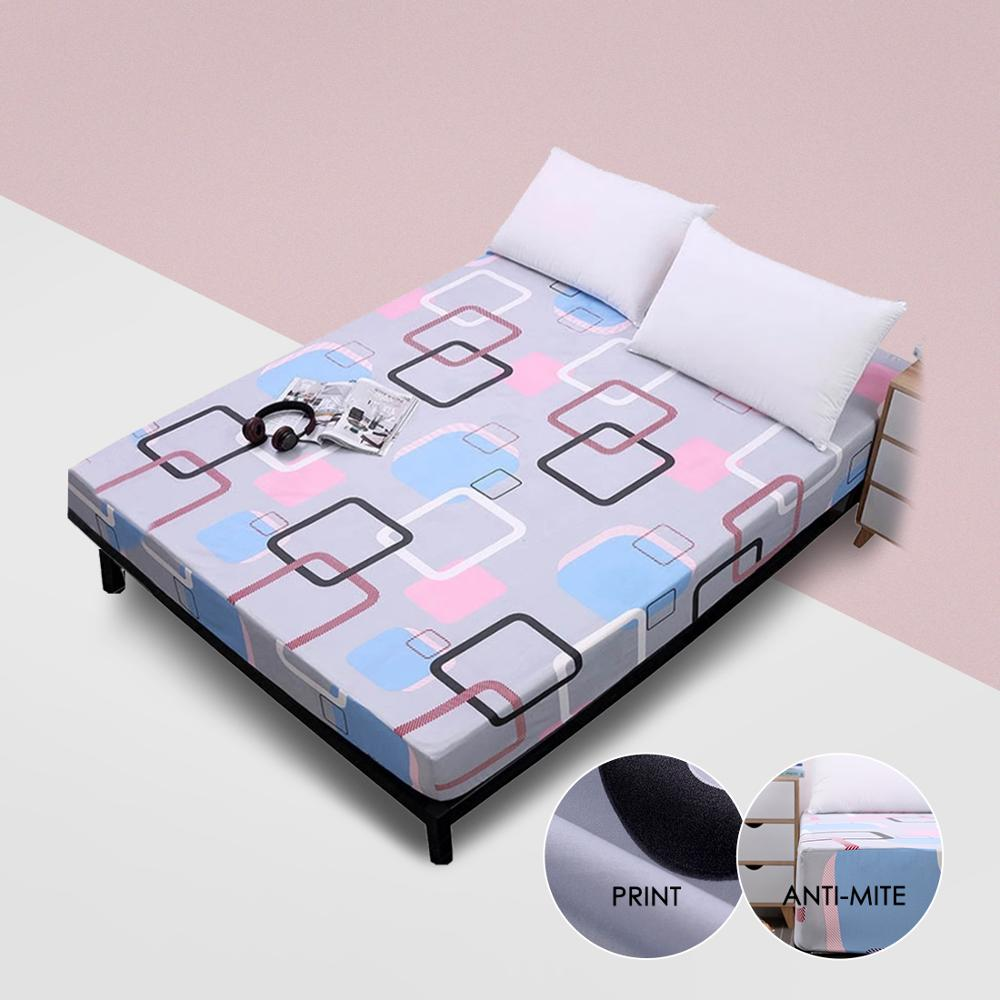 Simplicity Pure Pattern Printing Brushed Fitted Sheet Mattress Cover With Elastic Band Soft Bedding Linens Home Textile