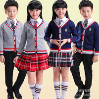 Spring Autumn Children School Uniforms for Girl Boys Knitted Cardigan+Skirt +Shorts +Tie Kids Student Clothing Outfits 4 15T