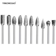 цена на 10pcs tungsten steel grinding head tungsten carbide burrs sets mini drill diamond burs material tungstenio dremel accessories