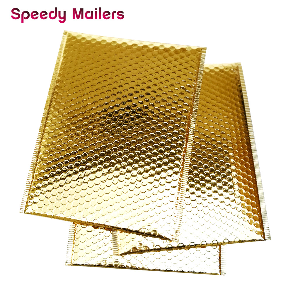 Speedy Mailers 100PCS/Pack Gold Padded Bubble Envelopes Metallic Bubble Shipping Mailer Gold Aluminum Foil Gift Packaging Bags