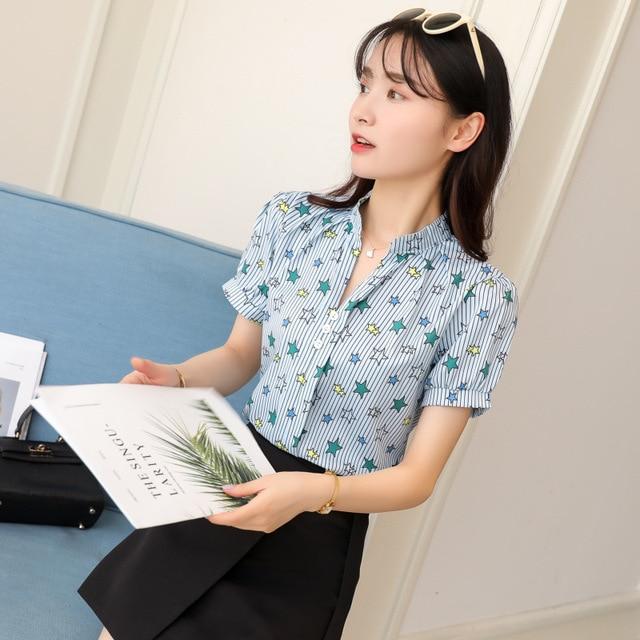 Korean Fashion Chiffon Women Shirts Office Lady Women Blouses Plus Size Womens Tops and Blouses Ladies Tops Femininas Elegante 4