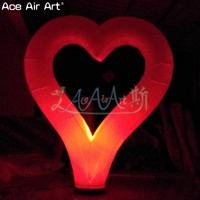 2 pcs inflatable Valentines heart,pop up white/red Heart model with base and lights stand for festival and party decoration