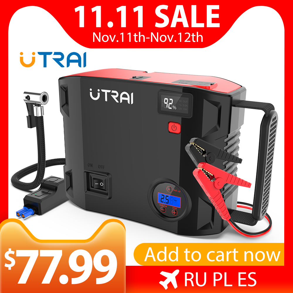 UTRAI 4 IN 1 Car Jump Starter Power Bank 24000mah 2000A with air pump 150PSI Portable Emergency 12V Car Booster Starting charger|Jump Starter| - AliExpress