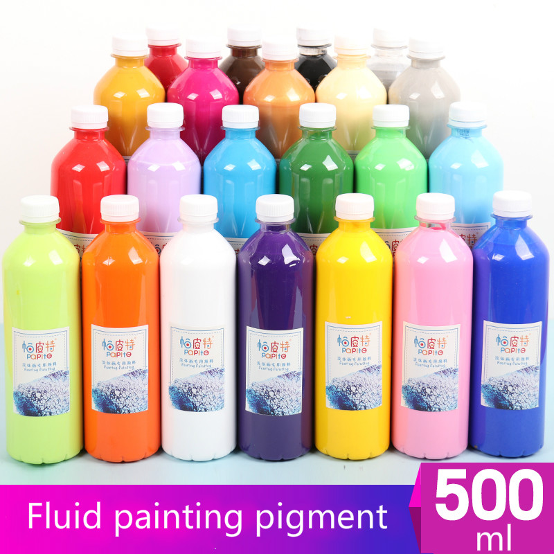 Fluid Painting Pigment Bottle 500ml / Liquid Acrylic Fluid Painting Material Diy Hand-painted / Painting Pigment