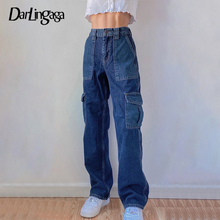Patchwork Jeans Streetwear Y2k Cargo-Pants Long-Trousers Loose-Pockets High-Waisted Straight