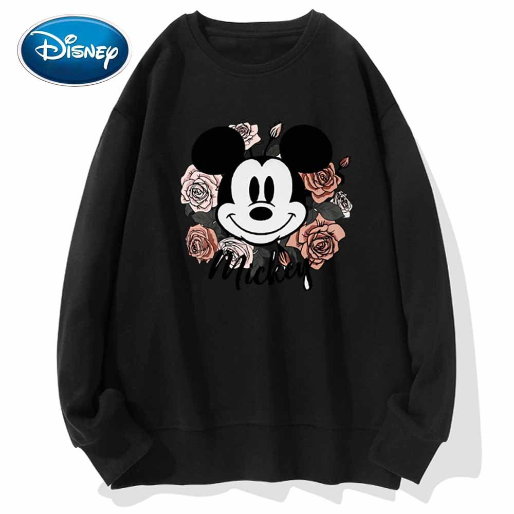 Disney Stylish Mickey Mouse Cartoon Floral Letter Print O-Neck Pullover Unisex Women Sweatshirt Long Sleeve Tops S - 3XL 9 Color
