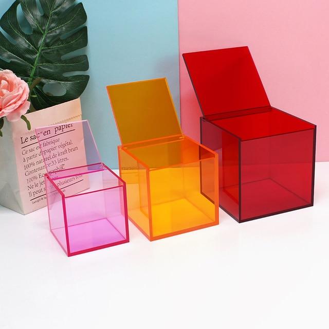 Desktop home decoration storage box Cosmetics Lipstick office acrylic cover small box dust transparent 4