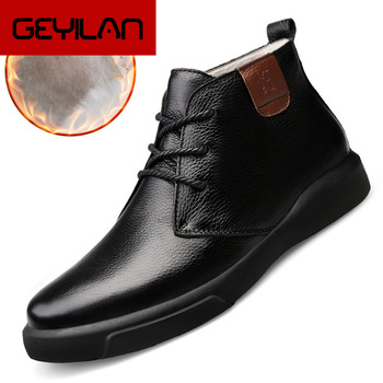 2020 Genuine Leather Men Shoes High Top Casual Leather Boots Fashion Male Shoes Comfortable Winter Moccasins Soft Men Sneakers