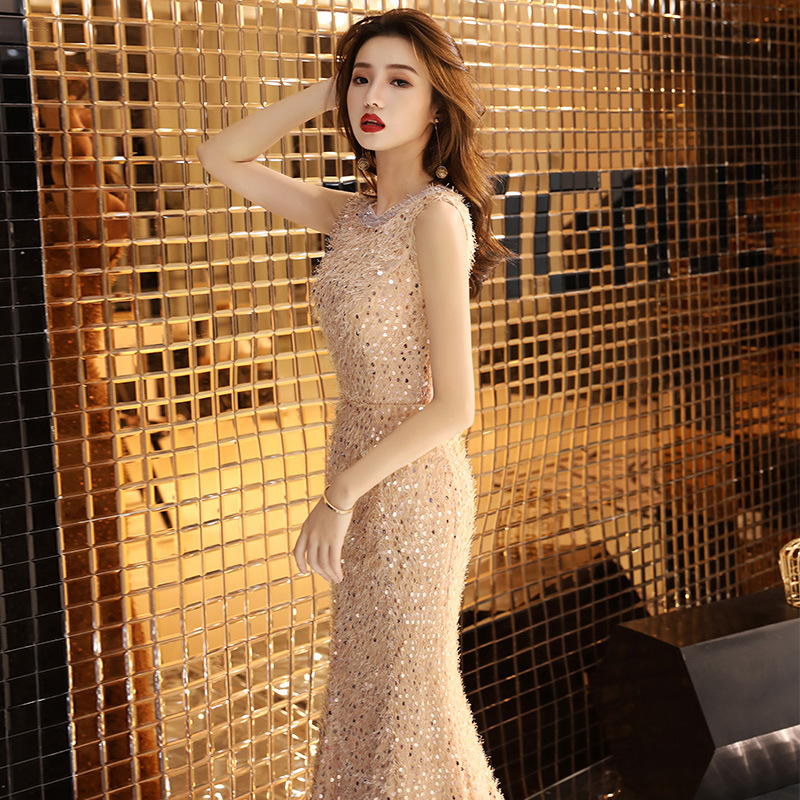 Dinner Formal Dress Long 2019 New Style Autumn Champagne Color Fishtail Slim Fit Banquet Host Formal Dress Women's Late Formal D