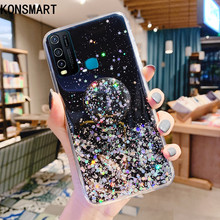 KONSMART Glitter Clear Case For VIVO Y30 6.47 Luxury Silicone Soft Bling Star Cute Phone Case VIVO Y30 Back Cover With Holder смартфон vivo y30 изумрудный черный