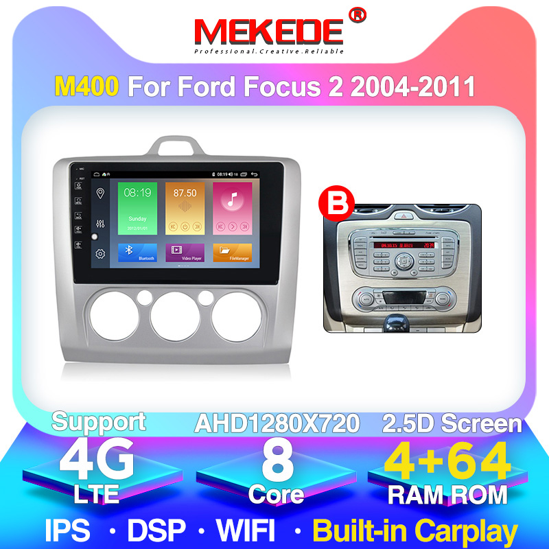 4G+64G Android DSP For <font><b>ford</b></font> <font><b>focus</b></font> 2 <font><b>Mk2</b></font> 2004-2011 Car Radio <font><b>Multimedia</b></font> Video Player Navigation GPS 2 din NO dvd image