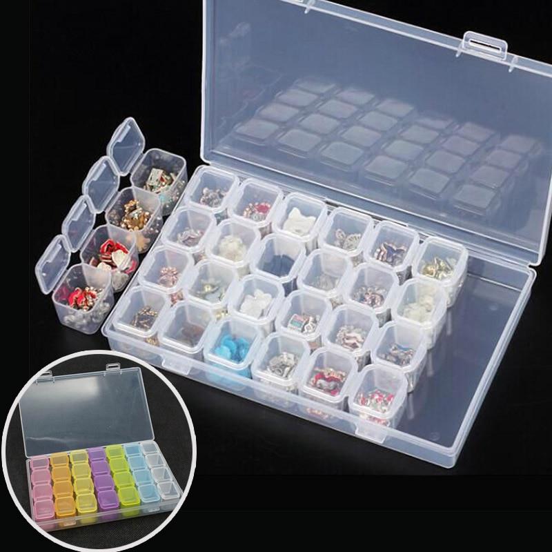 28 слотов для карт Чехлы пластиковая коробка для хранения ювелирных изделий, мелочей контейнер пустые прозрачные мини бусины Дисплей медици...