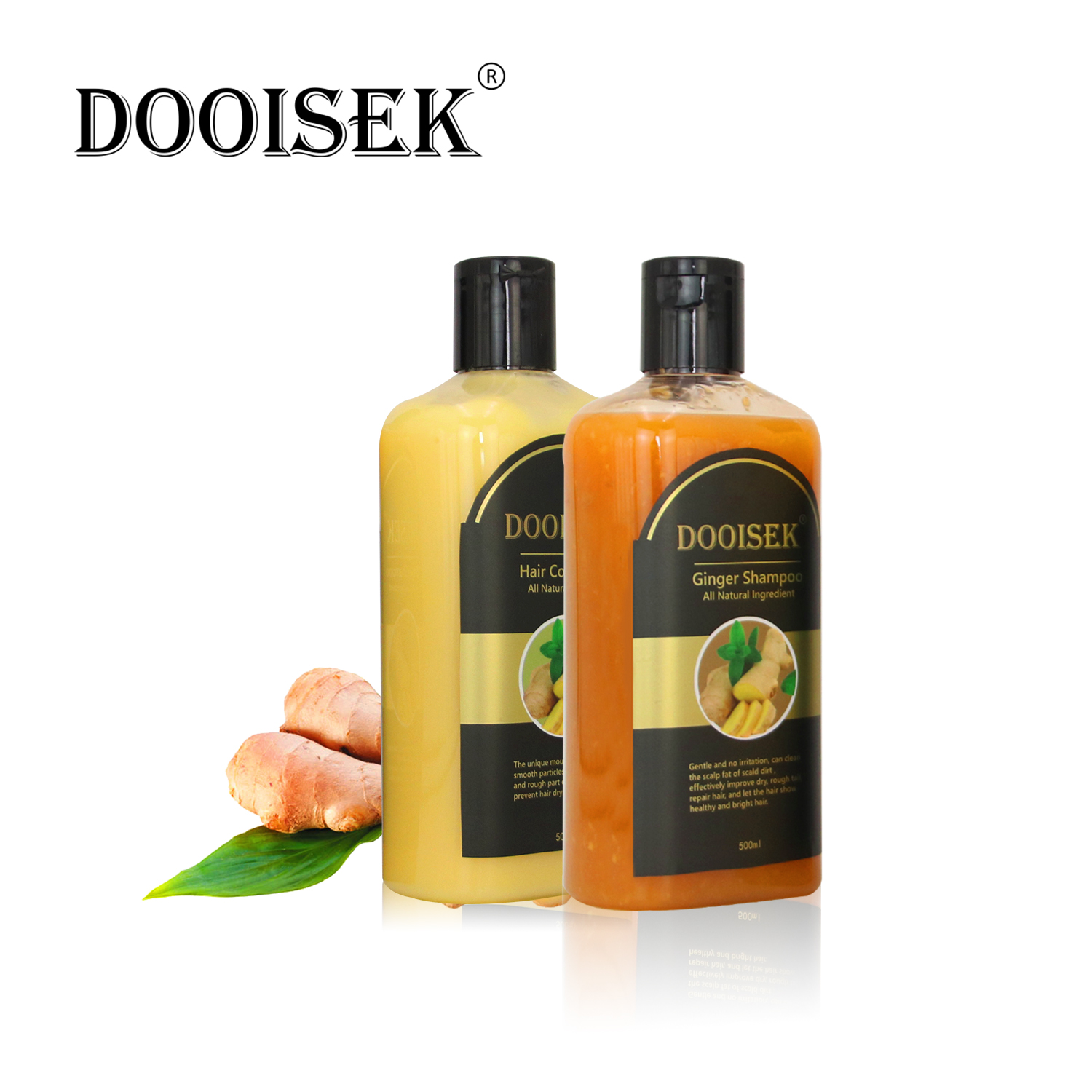 DOOISEK Natural Ginger Extract Hair Shampoo&Conditioner Set  Silky Moisturizing Growth Repair Damage Frizz Dry Treatment,2 in 1
