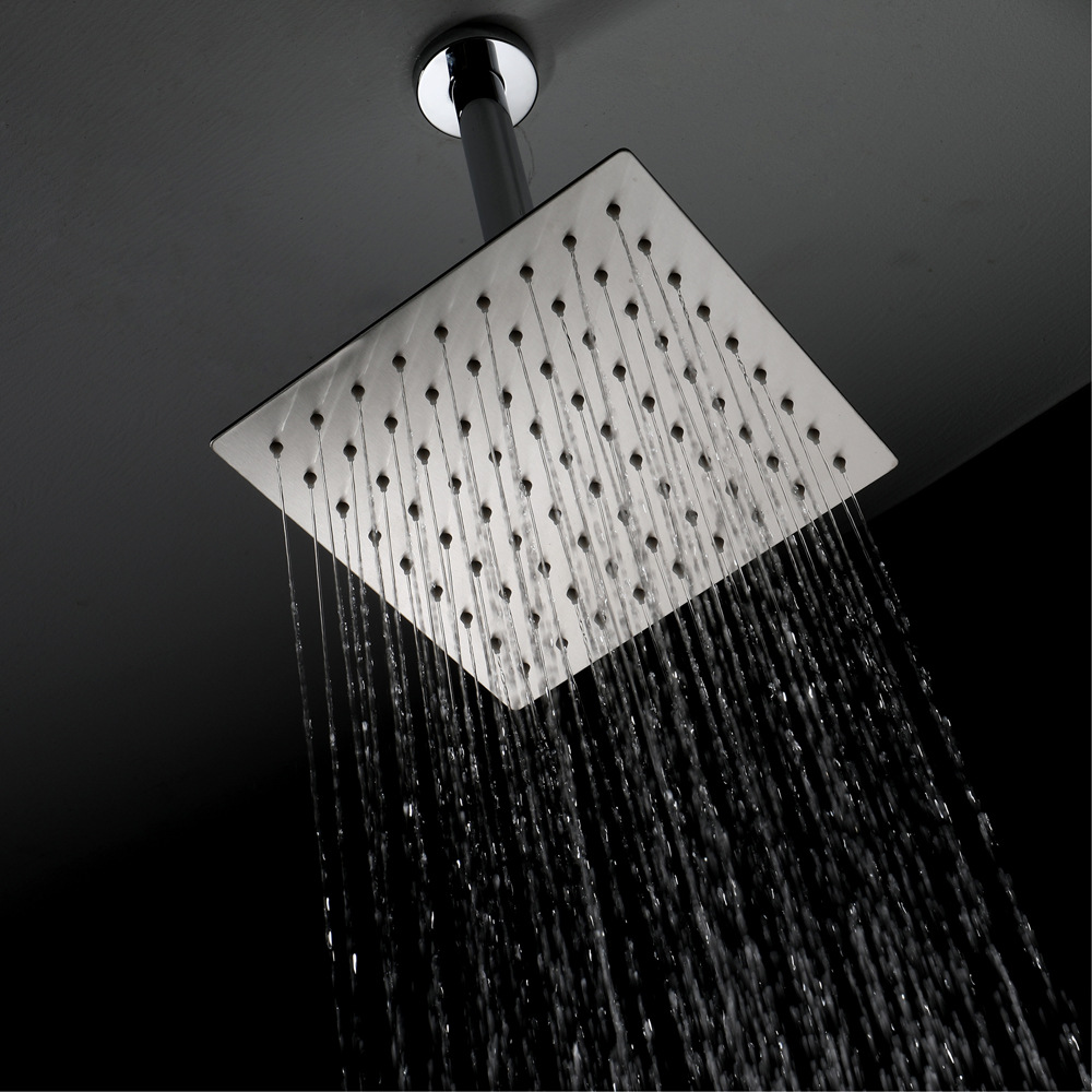 Shower Faucet Top Spray Stainless Steel Brushed 8-Inch Square Ultra-Thin Top Spray Manufacturers Direct Selling HIHSPJ017-2