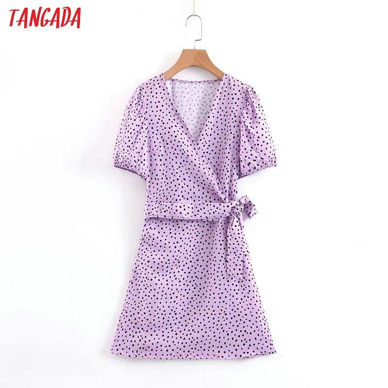 Tangada Fashion Women Dots Print Purple Mini Dress With Belt Short Sleeve Ladies Vintage Short Dress Vestidos SL07