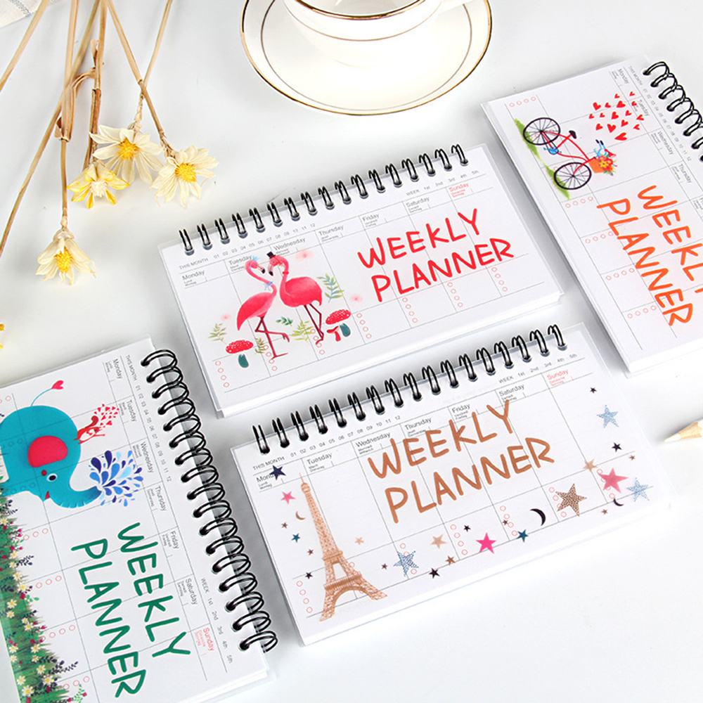1pcs Cartoon Flamingo Elephant Weekly Daily Schedule Planner Notebook Coil Flip Book Agenda Organizer  School Office Stationery