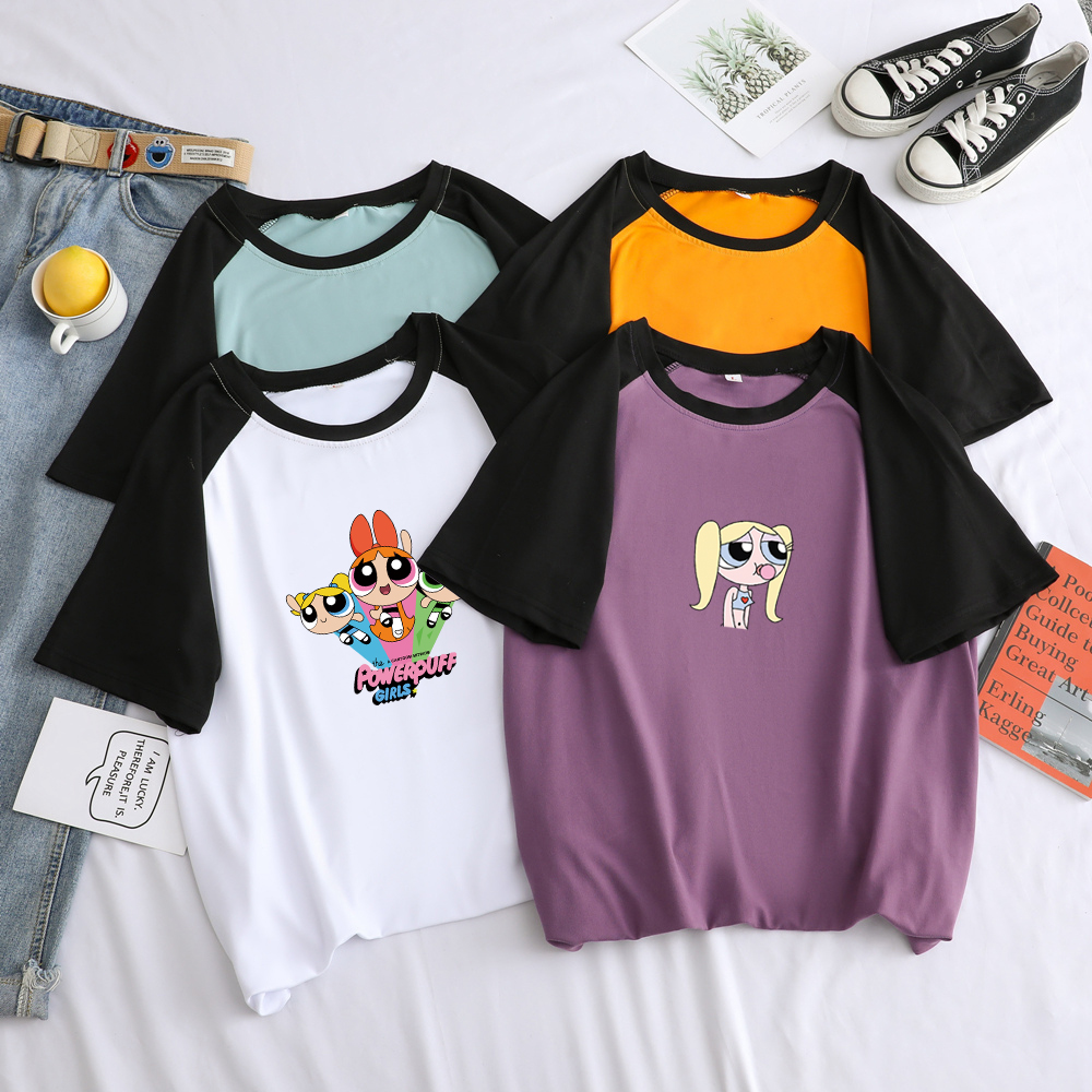 Summer Men Women Unisex T Shirts Short Sleeve Harajuku Kawaii Funny Powerpuff Police Girl Cartoon Print Spll Color Splicing Tops