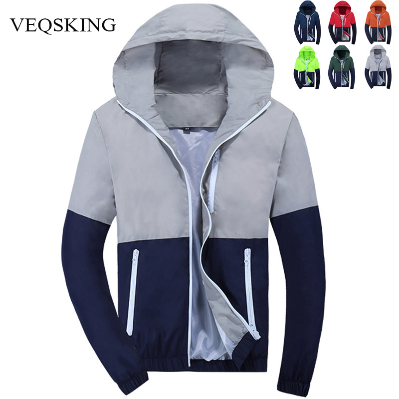 VEQSKING Jacket Coat Windbreaker Hooded Zipper Woman Autumn Fashion Men Men's