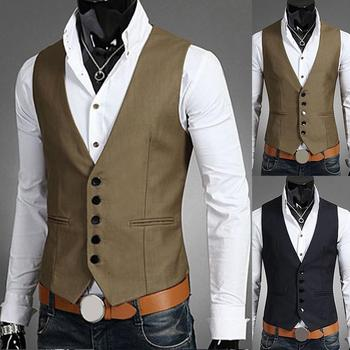 Business Men Solid Color V Neck Button Pocket Sleeveless Slim Fits Vest Waistcoat Made of high quality material,comfortable to w v neck belt button up waistcoat