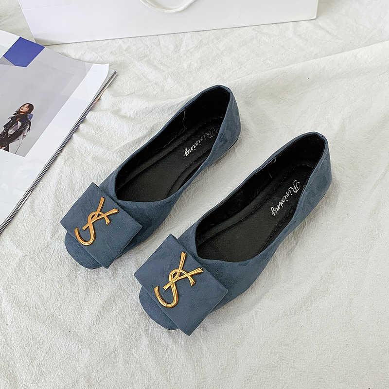 2020 Ondiepe Flats Casual Schoenen Vrouwen Metalen Letters Loafers Oxford Slip Op Mocassins Vrouwelijke Suède Schoeisel Platte Schoenen
