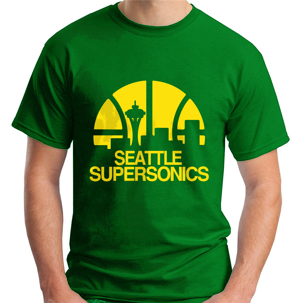 New Seattle Supersonics Basketball Club Men'S Green T-Shirt Size S-3Xl Brand Fashion Tee Shirt image