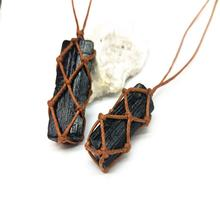 Crafts Natural Black Tourmaline Retro Raw Gemstone Pendant Crystal Hand-Woven Jet Stone Ore Radiation Protection