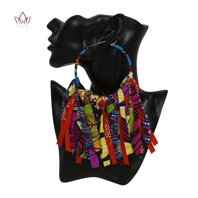 Summer African Earrings Fashion Women Africa Handmade Statement Circle Jewellery Print Wax Fabric Accessories