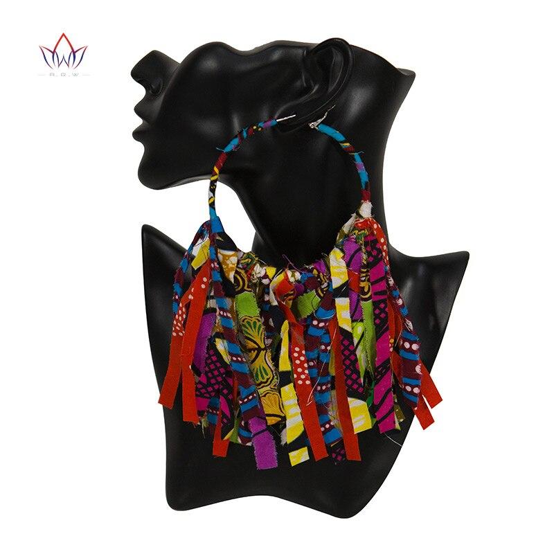Summer African Earrings Fashion Women Africa Handmade Statement Circle Jewellery Print Wax Fabric Accessories