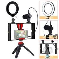 Fill Light Tripod Microphone Selfie Live 4 8W LED Ring Light Dimmable Flexible Vertical Bracket Mount Mobile Camera Light Set