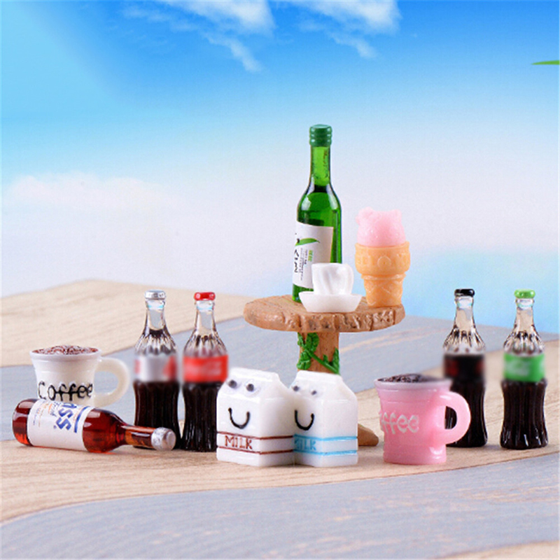 5PCS Beer Drinks Milks Dollhouse Miniature Realistic Shape Home Craft Ornament Shadowbox DIY Families Collectible Gift For Kid