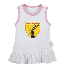 Deer Game of Thrones House Baratheon Ours is the Fury Newborn Baby Girls Dresses Toddler Sleeveless Dress Infant Cotton Clothes(China)