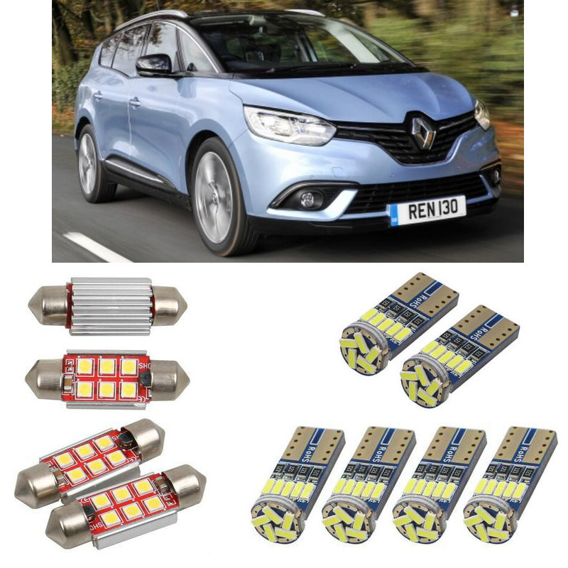 Interior Led Car Lights For Renault Grand Scenic 4 R9 2016 Car Accessories Boot Light License Plate Light 6pc