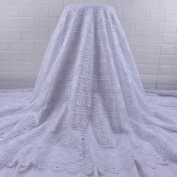 Zhenguiru White African Lace Fabric 2020 New French Nigerian Guipure Cord Lace Fabric With Rhinestones Suft Lace Cloth A1847