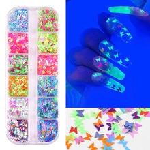 12 cores diy arte do prego glitter lantejoulas fluorescência borboleta formas unhas decorações accesorios unha polonês manicure ferramenta