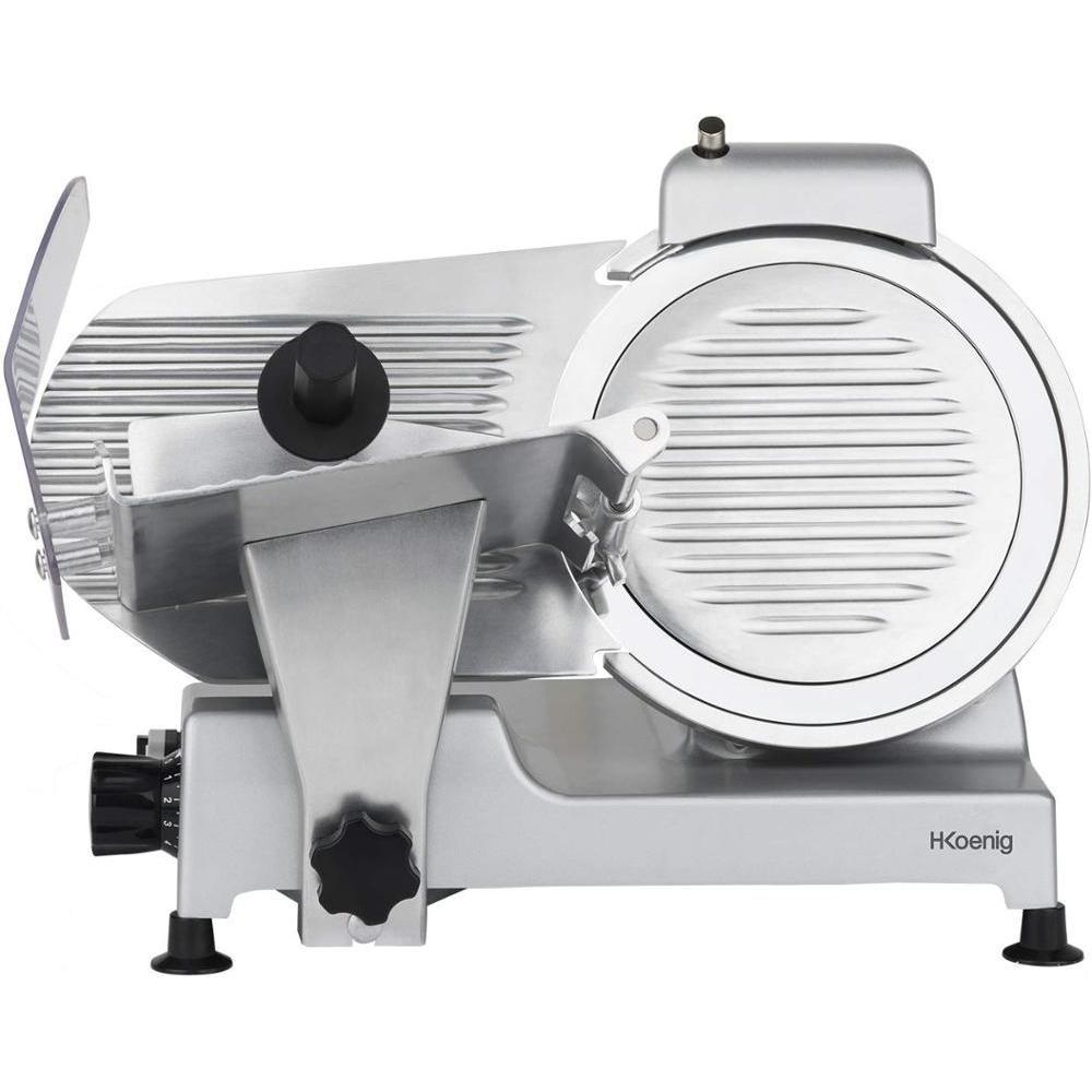 H. Koenig Slicers Proffesional Little, Italian Blade, 25 Cm, 282 RPM, Slice Thickness Adjustment, 240 W, Foil Back, Grey