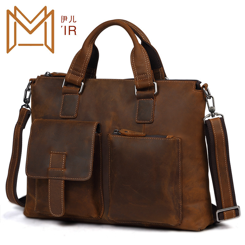 Crazy Horsehide Man Briefcase Genuine Leather Male Package Business Affairs Portable Computer Package Single Shoulder Package