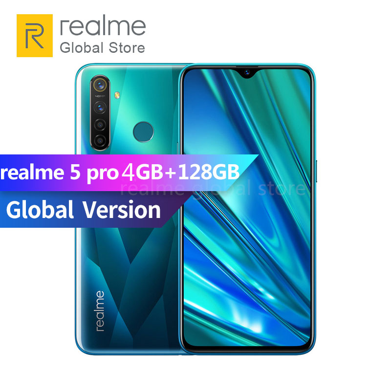 Original Global Version Realme 5 Pro 4GB RAM 128GB ROM Snapdragon 712 AIE Octa Core 6.3 Inch 4035mAh 48MP AI Quad Camera