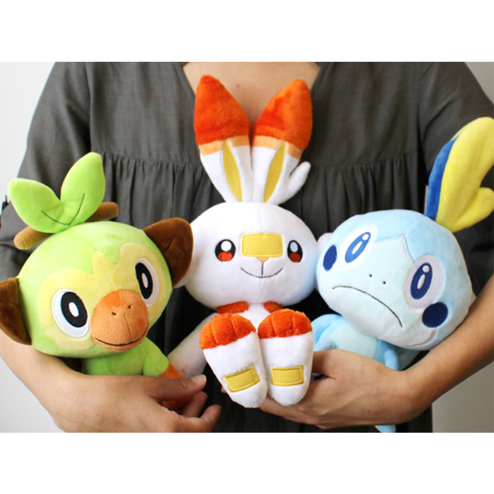 Sobble Scorbunny Grookey Cartoon Elf figure plush soft stuffed Collection toys for Children Christmas gift peluches 1