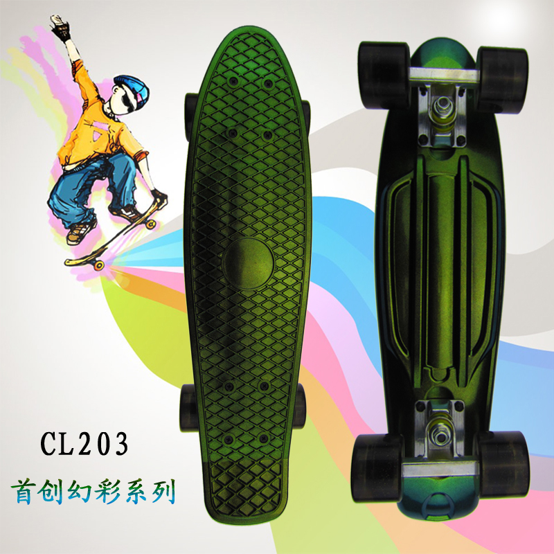 22inch Skateboard Mini Cruiser Skateboard Plastic Longboard Retro Banana Fishboard Street Outdoor Sport