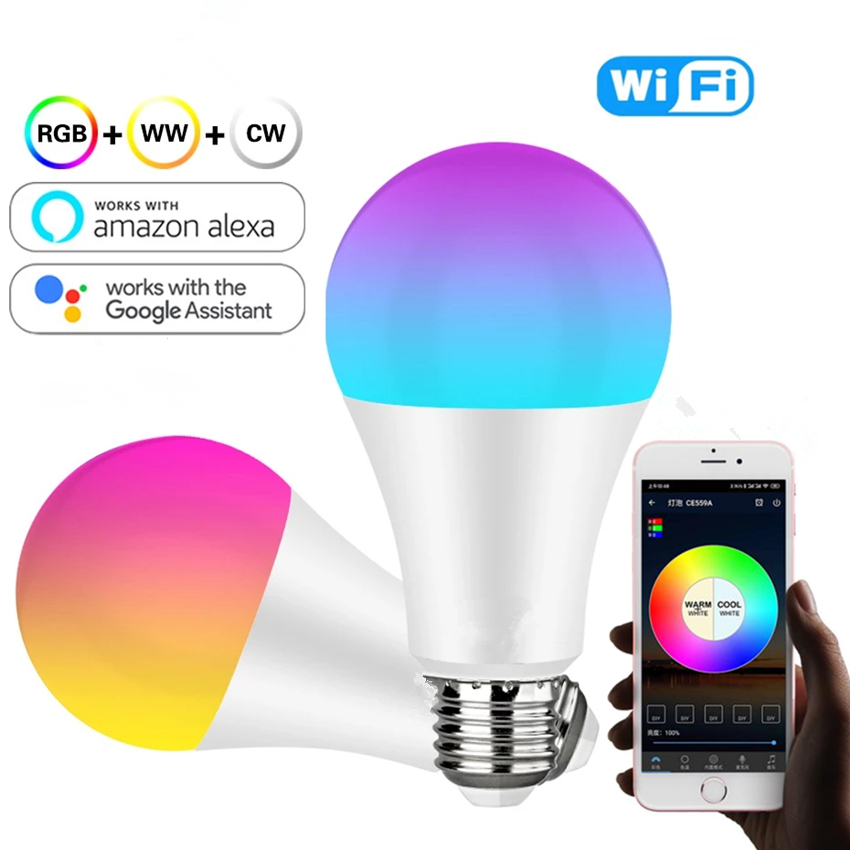 WiFi Smart Light Bulb 9W 10W Color Changable E27 RGB RGBW A60 A70 LED Bulb Dimmable Alexa Compatible Tuya Smart Life APP Google