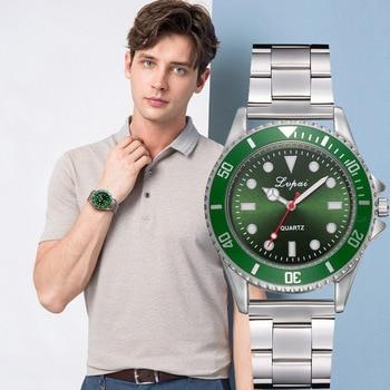 цена на Classic Mens Watches Top Brand Luxury Military Green Quartz Wristwatch Stainless Steel Business Waterproof Clock horloges mannen