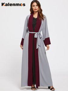 KALENMOS Muslim Women Abaya Dress Lace-up Moroccan Kaftan Kimono Long Abayas Islamic Clothing turkey Ramadan Burka Maxi Dresses
