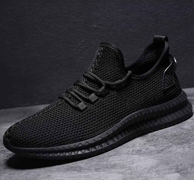 H24e8aa3cc8254889983dac16f31cd885V - Men Sneakers Black Mesh Breathable Running Sport Shoes Male Lace Up Non-slip Men Low Athletic Sneakers Casual Men Shoes