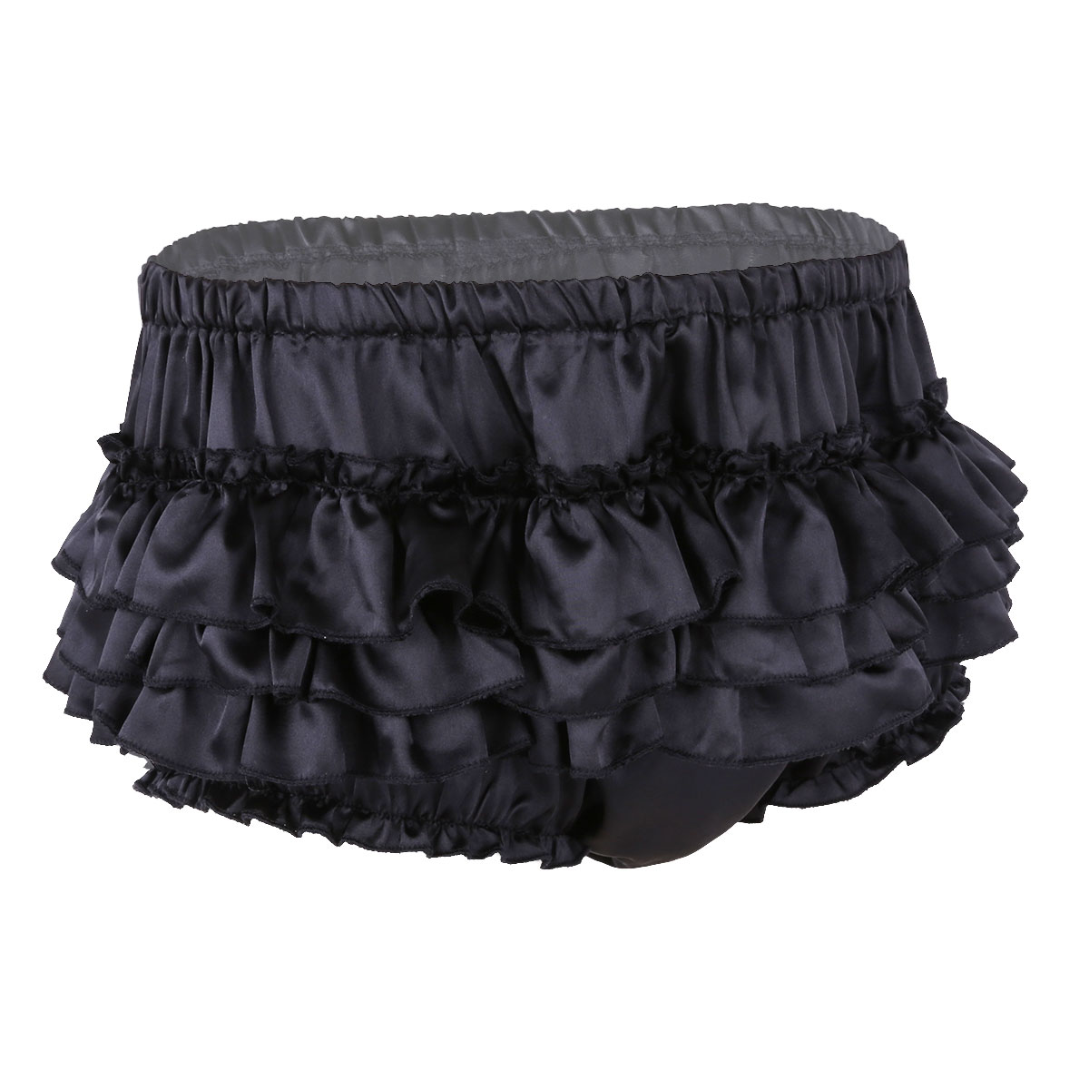 iEFiEL <font><b>Mens</b></font> Lingerie <font><b>Gay</b></font> Panties <font><b>Shiny</b></font> Satin Ruffled Bloomer Tiered Skirted Panties Briefs for <font><b>Sexy</b></font> Bikini Male Sissy <font><b>Underwear</b></font> image