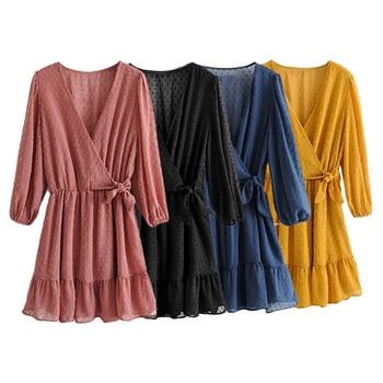 2020 Summer Women Ruffles Lace Chiffon Dress 3